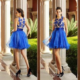 Wholesale 2015 Blue Short Party Dresses Sheer Applique Tulle Crew Neck Cocktail Homecoming A Line Pageant Prom Woman Dress Gowns Custom Made C3351