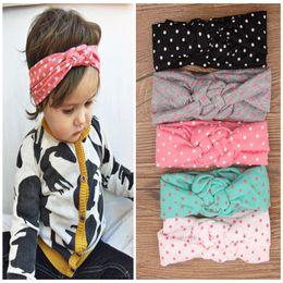 Wholesale 5 colors Baby Kids Knot Headbands Braided Headwrap Polka Dot Cross Knot Baby Turban Tie Knot Head wrap Children s Hair Accessories B237