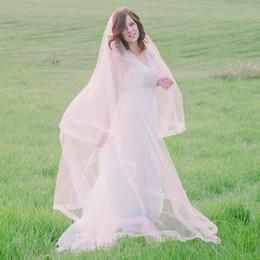 Wholesale Blush Pink or Peach Cathedral Long Drop Veil For Bridal with Sheer Organza Ribbon Edge Custom