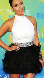 Wholesale Hot Sale Dresses Nueva llegada por encargo vestido de noche Kim Kardashian blanco y negro plumas Celebrity vestido