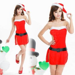 Wholesale Ladies Sexy Christmas Lingerie Lovely Red Gallus Women Sexy Christmas Suit Sexy Lingerie Dress Hat Belt