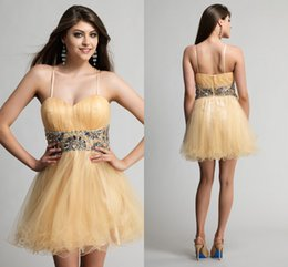 Wholesale 2015 Spaghetti Straps Cheap Homecoming Dresses With Crystal Beads Waist Short Corset Prom Dresses Custom Plus Size Party Cocktail GownHC0312