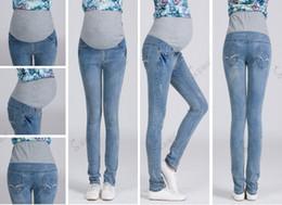 Wholesale Maternity jeans Pregnant women Jeans abdominal pants Maternity Wear autumn fashion elastic waistband pants trousers bottoms