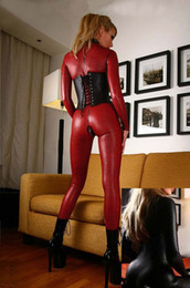 Wholesale New leather costume female models clothes DS game service women leather club bodysuits red and black women sexy PVC Catsuit