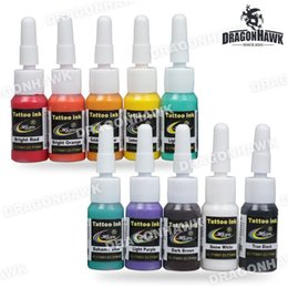 Wholesale 10 Colors ml Bottle Tattoo Inks Sets Tattoo Practice Inks Tattoo Pigment Kits Mix Colors Primary Tattoo Ink Supply Set Kit SL123