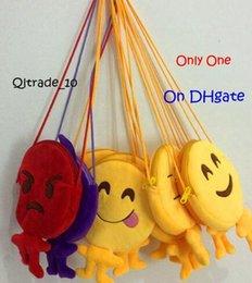 10 estilos de longitud 25 cm del bebé Emoji Smiley lindo monedero de la moneda bolsa de dibujos animados amarillos emoji Ronda del bocado bolsas de la felpa del en stock