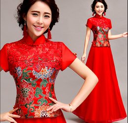Wholesale chinese traditional dress style cheongsam evening dress short sleeve bridal wear long design chinese traditional dress