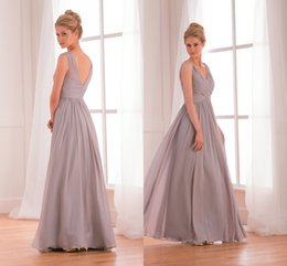 Wholesale Stock Price Cheap Long Grey Bridesmaid Dresses A Line Sexy V Neck Sheer Charming Floor Length Pleats Ruffles Formal Party Dress Gowns