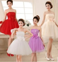 Wholesale Bridesmaid Dress colors Mini Skirts Bow Wedding party clothes A line Sweet Party Formal sexy