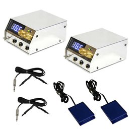 Wholesale 2 Digital LCD Tattoo Power Supply Set Clipcord Foot Pedal Switch Kit