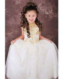 Wholesale La moda de Lentejuelas de Oro de Una Línea de Little Girl amp s Desfile de Vestidos de Perlas de Alta Cuello palabra de Longitud Tul Vestido de Niña de Flores