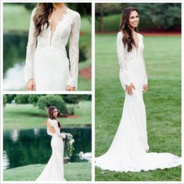 Affordable Beautiful Full Lace Ivory Mermaid Maternity Wedding Dresses With Illusion Long Sleeve Sexy Back Berta Plus Sizes Bridal Gown