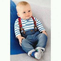 Wholesale 2015 Baby boys Striped denim suspender jumpsuits suits sets tshirt jeans Boys tracksuits infant clothes Children clothe
