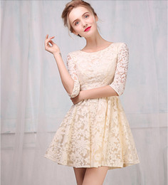 Beige short lace dresses