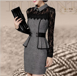 Wholesale Vestidos Casual Dress Winter Dress OL Elegant Classical Lace Long Sleeve Package Hip Dress new arrive