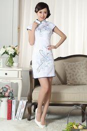 Wholesale Traditional Print Chinese Cheongsam High Collar Capped Short Sleeves Prom Dresses Mini Short Side Split Evening Dress