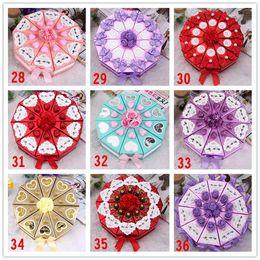 Wholesale 2015 Romantic Purple Candy Boxes Cake Shape Purple Flower Decoration Bowknot Ribbon Wedding Favors Party Gift Boxes Holders