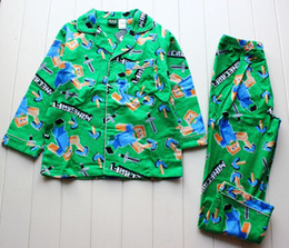 Wholesale minecraft long sleeve flannel boys sleepwear pajamas T T A001