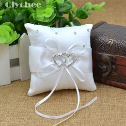 wholesale wedding accessories white 10x10cm small ring bearer pillow cushions wedding party crystal rhinestone double heart