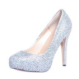 Wholesale 2015 Silver Wedding Shoes High Heel Rhinestone Bridal Shoes Fashion New Wedding Shoes Party Evening Prom Shoes For Women SS002