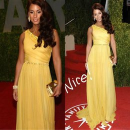 Wholesale Best Selling Yellow One Shoulder Beads Ribbon Pleats Celebrity Evening Dresses New A line Sweep Train Sexy Prom Dresses