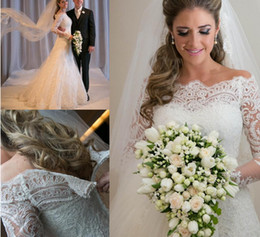 Wholesale Arabic Lace Wedding Dresses With Long Sleeves Vestidos De Noiva Romantic Appliques Mermaid Bridal Gowns Beach Wedding Gowns Robe