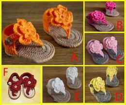 Wholesale Beautiful double wool flowers baby sandals veil Children flip flops crochet sandals Cheap soft bottom toddler HX
