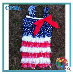 Wholesale 2015 th of July lace bowknot girl dresses independence day Children jumpsuits children dress babies clothes American flag clothes327