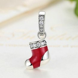 100% Authentic 925 Sterling Silver Christmas socks Santa Claus Charm Beads Fit pandora Charm Bracelet DIY Original Silver Jewelry