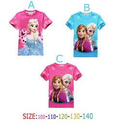 Wholesale 2015 Limited Time limited A B Frozen Children Clothing T shirt Elsa Girl Dress Snow Suit Girls Summer Short Sleeve Clothes T shirts Gc029