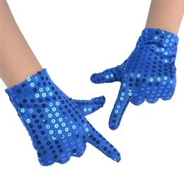 Wholesale Fashion Children Performing Sequined Glove The Best Props For Performance The Most Charming Gift for Children Blue