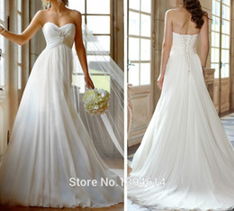 Wholesale New Arrival Empire Sweetheart Sleeveless Appliques Pleat Beaded Satin Chiffon Beach Wedding Dresses