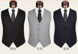 Wholesale Groom Vests Groom Tuxedos Groomsmen Suit Vest Custom Made Light Grey Side Vent Slim Fit Best Man Suit Wedding Men s Suits Bridegroom Vest