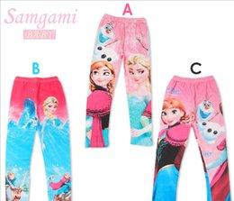 Wholesale Baby Girls Frozen Leggings Elsa Cotton Pants Three Colors T T
