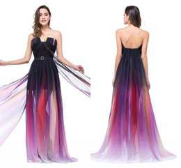 Wholesale 2016 Cheap Elie Saab Prom Dresses Gradient Color Print Chiffon Ombre Sheer Skirt Long Summer Celebrity Designer Evening Party Gowns CPS173
