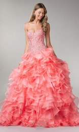Wholesale 2015 Puffy Coral Quinceanera Dresses Organza Sweetheart Corset Vestido De Debutante Beaded Crystals Lace Up Sweet Sixteen Dress For Girls