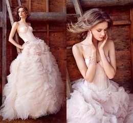 Wholesale Blush Pink Organza Wedding Dresses Exposed Boning Lace Corset Bodice Cascading Ruffles Wedding Gowns Full Length Elegant Bridal Gowns