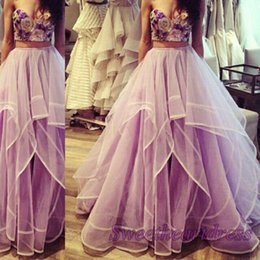 Wholesale 2016 Amazing Lavender Strapless Two Pieces Sweetheart Ball Gown Prom Dresses Cute Party Dresses for Teens Long Evening Dresses