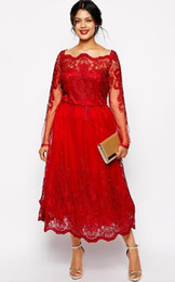Wholesale 2015 Classy Red A Line Lace Applique Dresses Square Neck Long Sleeve Tea Length Party Prom Dress Evening Gown For Special Occasion