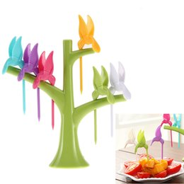 6pc Tree Shape Fruit Forks with Tree Shaped Stand Party Utensils toothpick tableware Cooking tool Fork with box package