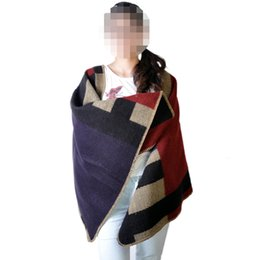 Wholesale Autumn and Winter Wool Cashmere Blanket Style Cape Shawl Sweater Women Fashion Contrast Color Wool blend Poncho cloak Via e Packet