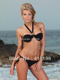 Wholesale 2014 High summer sexy Bikini and swimmer Pink Purple Black colors women swimsuit push up beach clothes
