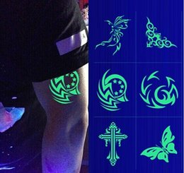 Wholesale 6 CM luminous tattoo paste fluorescent nightclub noctilucent stick waterproof tatto stickers support customized