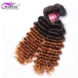 Discount ombre two tone color virgin hair 7A Mongolian Human Hair Extension Two Tone Ombre Virgin Hair Weave 4 Piece 100g 1B 30 deep Curly Remy Human Hair Ombre Mongolian Hair Bundle