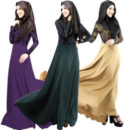 Ближний Восток Дубай халат арабских 2016 осенью новых с длинными рукавами кружева поддельные два мусульманских платье платье моды
