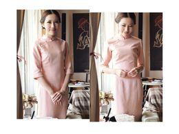 Wholesale simple elegance Linaceae Cheongsam Dress Long Dress Daily Wear Party Dress Long Sleeve Dress High Slit Slim Curve Dress