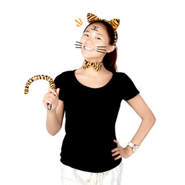 Wholesale Halloween Funny Dress Up Party Accessory Set Animal Costume Props Leopard Print Plush Fluffy Cat Ear Headband Bow Tie Tail H11827