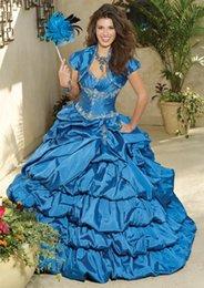 Wholesale Berenjena púrpura vestidos de bola tafetán vestidos de quinceañera con chaqueta vestidos de debutante para dulces apliques de encaje de cuentas con cordones Volver