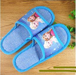Wholesale Hot Frozen Children Girls Slippers Antiskid Sole Breathable Household Shoes Anna Elsa Cartoon Baby Kids Autumn Slipper