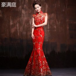 Wholesale Bride Red Vintage improved Cheongsam wedding dress New Lace Mermaid Slim Short Sleeve Long Elegant Cheongsam Dress High collar Summer